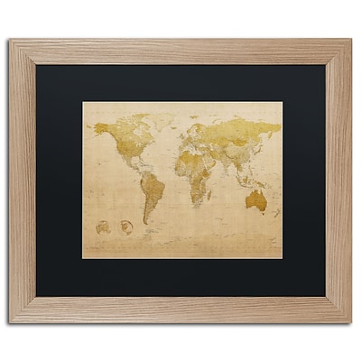 Trademark Fine Art Antique World Map by Michael Tompsett 16 x 20 Black Matted Wood Frame (MT0001-T1620BMF)