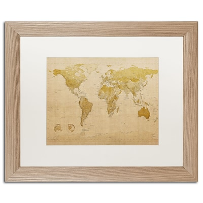 Trademark Fine Art Antique World Map by Michael Tompsett 16 x 20 White Matted Wood Frame (MT0001-T1620MF)