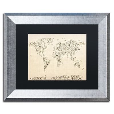 Trademark Fine Art Music Note World Map by Michael Tompsett 11 x 14 Black Matted Silver Frame (MT0003-S1114BMF)