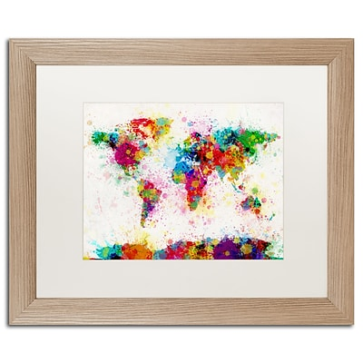 Trademark Fine Art Paint Splashes World Map by Michael Tompsett 16 x 20 White Matted Wood Frame (MT0005-T1620MF)