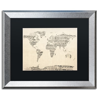 Trademark Fine Art Old Sheet Music World Map by Michael Tompsett 16 x 20 Silver Frame (MT0016-S1620BMF)