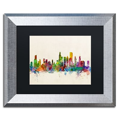 Trademark Fine Art Chicago Illinois by Michael Tompsett 11 x 14 Black Matted Silver Frame (MT0372-S1114BMF)
