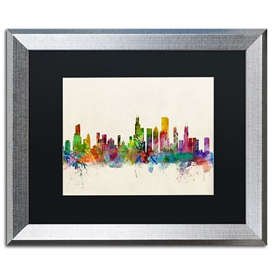 Trademark Fine Art Chicago Illinois by Michael Tompsett 16 x 20 Black Matted Silver Frame (MT0372-S1620BMF)