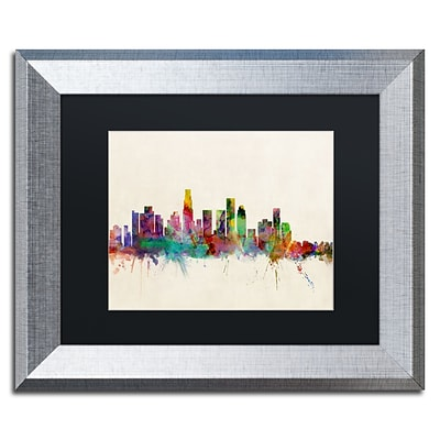 Trademark Fine Art Los Angeles CA by Michael Tompsett 11 x 14 Black Matted Silver Frame (MT0373-S1114BMF)