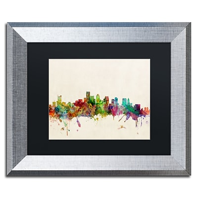 Trademark Fine Art Boston MA by Michael Tompsett 11 x 14 Black Matted Silver Frame (MT0382-S1114BMF)