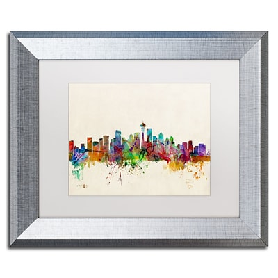 Trademark Fine Art Seattle WA by Michael Tompsett 11 x 14 White Matted Silver Frame (MT0384-S1114MF)