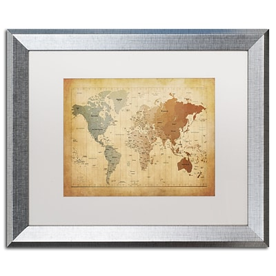 Trademark Fine Art Time Zones Map of the World by Michael Tompsett 16 x 20 White Matted Silver Frame (MT0492-S1620MF)