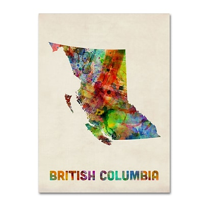 Trademark Fine Art British Columbia Watercolor Map by Michael Tompsett 18 x 24 Canvas Art (MT0503-C1824GG)