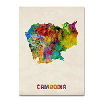 Trademark Fine Art Cambodia Watercolor Map by Michael Tompsett 35 x 47 Canvas Art (MT0509-C3547GG)
