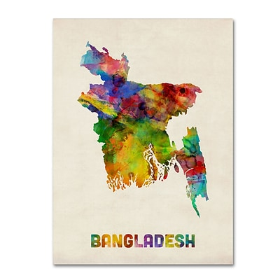 Trademark Fine Art Bangladesh Watercolor Map by Michael Tompsett 14 x 19 Canvas Art (MT0511-C1419GG)