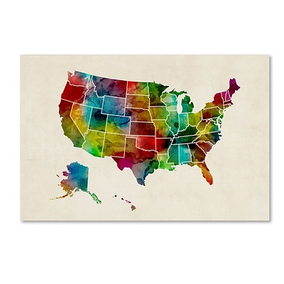 Trademark Fine Art United States Watercolor Map 2 by Michael Tompsett 22 x 32 Canvas Art (MT0514-C2232GG)