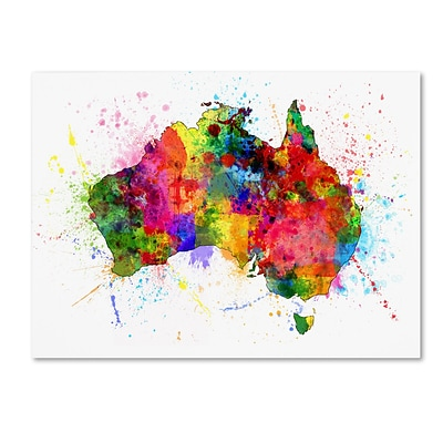 Trademark Fine Art Australia Paint Splashes Map by Michael Tompsett 24 x 32 Canvas Art (MT0515-C2432GG)