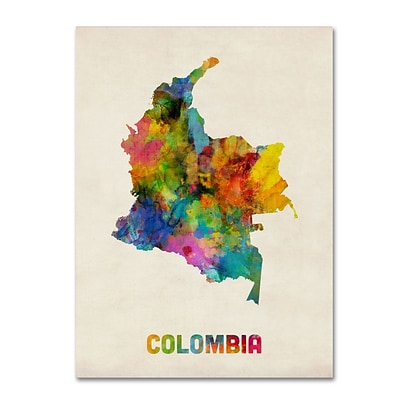 Trademark Fine Art Colombia Watercolor Map by Michael Tompsett 18 x 24 Canvas Art (MT0518-C1824GG)