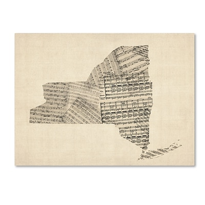 Trademark Fine Art Old Sheet Music Map of New York State by Michael Tompsett 14x19 Canvas(MT0530-C1419GG)