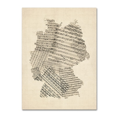 Trademark Fine Art Old Sheet Music Map of Germany by Michael Tompsett 35 x 47 Canvas Art (MT0532-C3547GG)