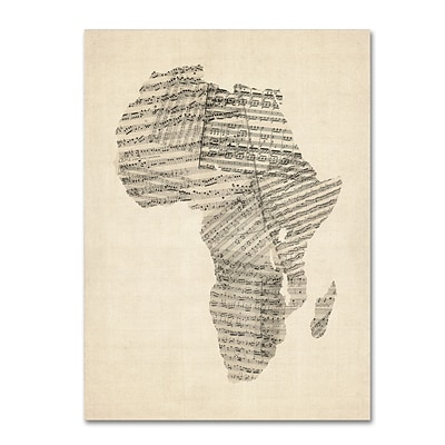 Trademark Fine Art Old Sheet Music Map of Africa by Michael Tompsett 24 x 32 Canvas Art (MT0533-C2432GG)