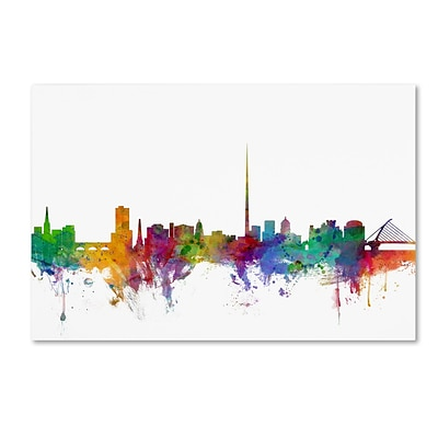 Trademark Fine Art Dublin Ireland Skyline by Michael Tompsett 12 x 19 Canvas Art (MT0540-C1219GG)