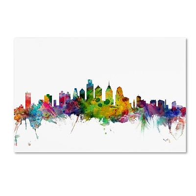 Trademark Fine Art Philadelphia Pennsylvania Skyline by Michael Tompsett 30 x 47 Canvas Art (MT0543-C3047GG)
