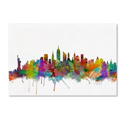 Trademark Fine Art New York City Skyline by Michael Tompsett 12 x 19 Canvas Art (MT0546-C1219GG)