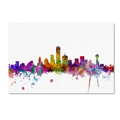 Trademark Fine Art Dallas Texas Skyline by Michael Tompsett 12 x 19 Canvas Art (MT0555-C1219GG)