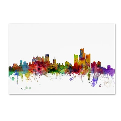 Trademark Fine Art Detroit Michigan Skyline by Michael Tompsett 12 x 19 Canvas Art (MT0557-C1219GG)