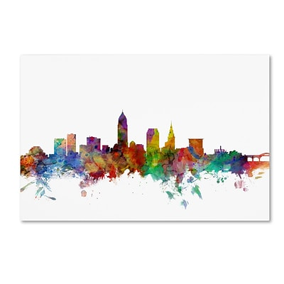 Trademark Fine Art Cleveland Ohio Skyline by Michael Tompsett 12 x 19 Canvas Art (MT0559-C1219GG)