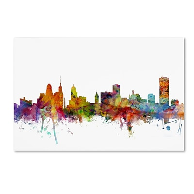 Trademark Fine Art Buffalo New York Skyline by Michael Tompsett 22 x 32 Canvas Art (MT0585-C2232GG)
