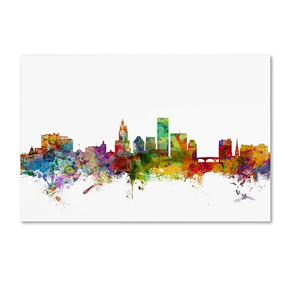 Trademark Fine Art Providence Rhode Island Skyline by Michael Tompsett 30 x 47 Canvas Art (MT0588-C3047GG)