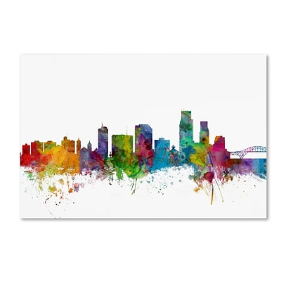 Trademark Fine Art Corpus Christie Texas Skyline by Michael Tompsett 22 x 32 Canvas Art (MT0600-C2232GG)