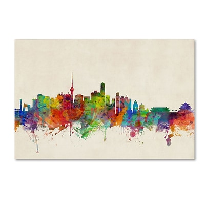 Trademark Fine Art Beijing China Skyline by Michael Tompsett 12 x 19 Canvas Art (MT0608-C1219GG)