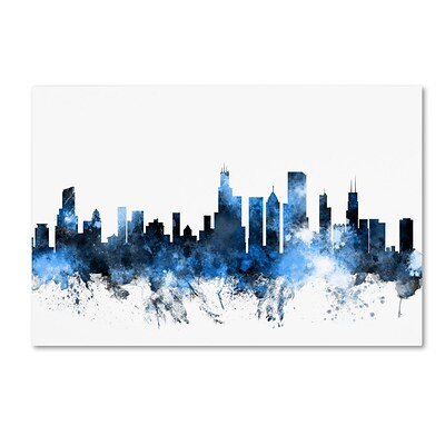 Trademark Fine Art Chicago Illinois Skyline II by Michael Tompsett 12 x 19 Canvas Art (MT0621-C1219GG)