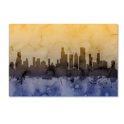 Trademark Fine Art Chicago Illinois Skyline IV by Michael Tompsett 22 x 32 Canvas Art (MT0638-C2232GG)
