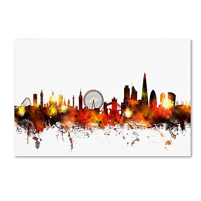 Trademark Fine Art London England Skyline II by Michael Tompsett 16 x 24 Canvas Art (MT0640-C1624GG)