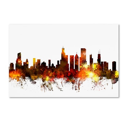 Trademark Fine Art Chicago Illinois Skyline VI by Michael Tompsett 30 x 47 Canvas Art (MT0642-C3047GG)