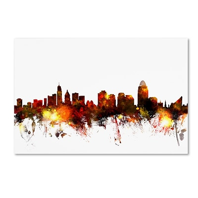 Trademark Fine Art Cincinnati Ohio Skyline III by Michael Tompsett 30 x 47 Canvas Art (MT0649-C3047GG)