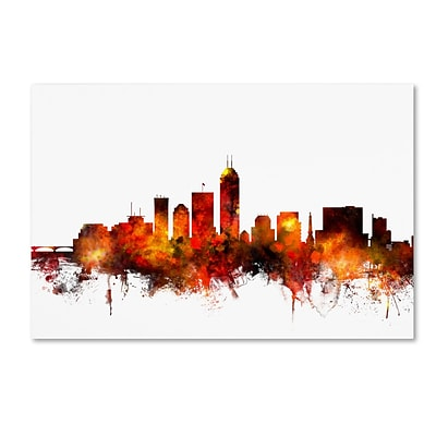 Trademark Fine Art Indianapolis Indiana Skyline II by Michael Tompsett 22 x 32 Canvas Art (MT0657-C2232GG)