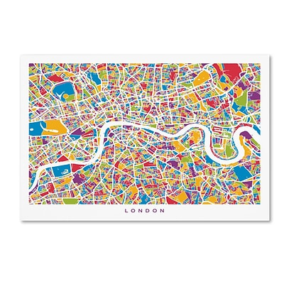 Trademark Fine Art London England Street Map by Michael Tompsett 16 x 24 Canvas Art (MT0662-C1624GG)