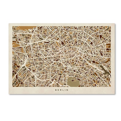 Trademark Fine Art Berlin Germany Street Map by Michael Tompsett 12 x 19 Canvas Art (MT0666-C1219GG)