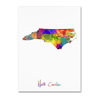 Trademark Fine Art North Carolina Map by Michael Tompsett 14 x 19 Canvas Art (MT0679-C1419GG)