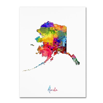 Trademark Fine Art Alaska Map by Michael Tompsett 24 x 32 Canvas Art (MT0686-C2432GG)