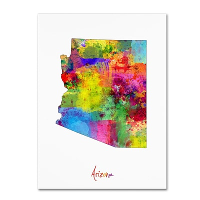 Trademark Fine Art Arizona Map by Michael Tompsett 35 x 47 Canvas Art (MT0698-C3547GG)