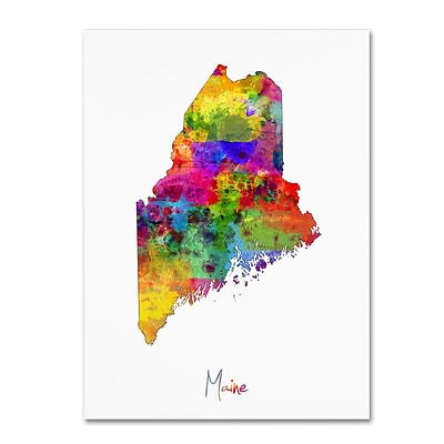 Trademark Fine Art Maine Map by Michael Tompsett 35 x 47 Canvas Art (MT0704-C3547GG)