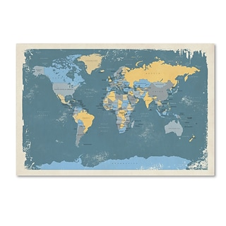 Trademark Fine Art Retro Political Map of the World by Michael Tompsett 12 x 19 Canvas Art (MT