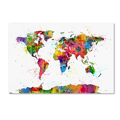 Trademark Fine Art Map of the World Watercolor by Michael Tompsett 22 x 32 Canvas Art (MT0732-C2232GG)