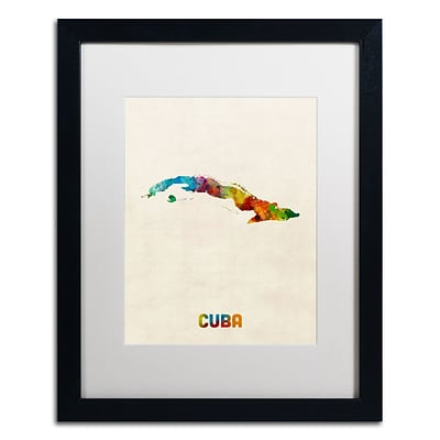 Trademark Fine Art Cuba Watercolor Map by Michael Tompsett 16 x 20 White Matted Black Frame (MT0737-B1620MF)