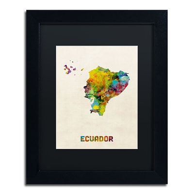 Trademark Fine Art Ecuador Watercolor Map by Michael Tompsett 11 x 14 Black Matted Black Frame (MT0739-B1114BMF)