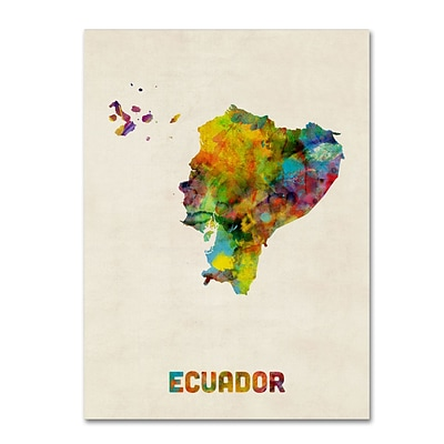 Trademark Fine Art Ecuador Watercolor Map by Michael Tompsett 14 x 19 Canvas Art (MT0739-C1419GG)