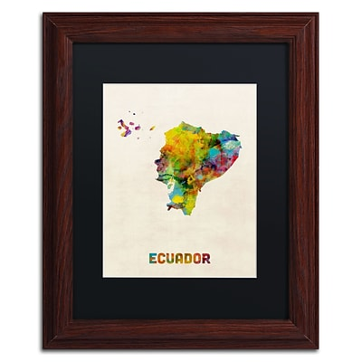Trademark Fine Art Ecuador Watercolor Map by Michael Tompsett 11 x 14 Black Matted Wood Frame (MT0739-W1114BMF)