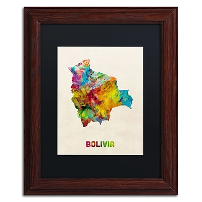 Trademark Fine Art Bolivia Watercolor Map by Michael Tompsett 11 x 14 Black Matted Wood Frame (MT0741-W1114BMF)