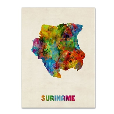Trademark Fine Art Suriname Watercolor Map by Michael Tompsett 18 x 24 Canvas Art (MT0744-C1824GG)